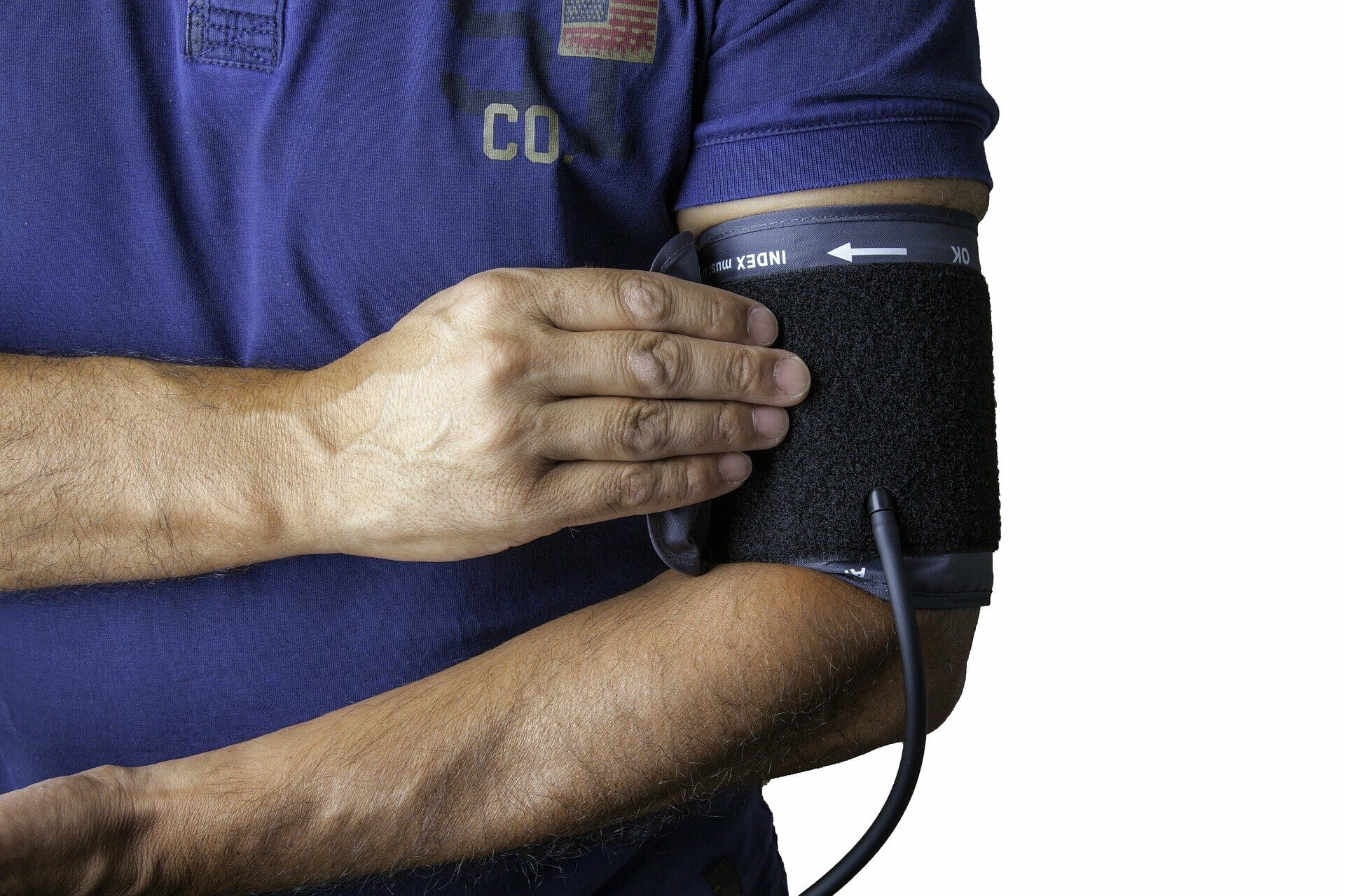 Blood pressure device strapped on person's arm